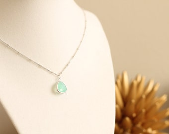 Silver Bead Chain Mint Seaglass Gem Silver Necklace