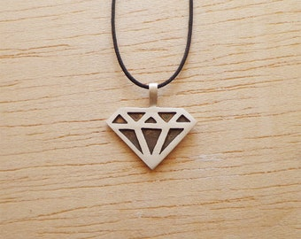 Diamond Symbol in Sterling Silver 925 Mens, ladies diamond Necklace