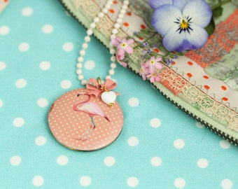 Necklace Chain Flamingo Flower bow Heart