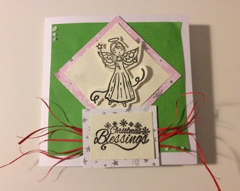 Green blank christmas card with fairy and christmas blessings | CraftyFoxByBG