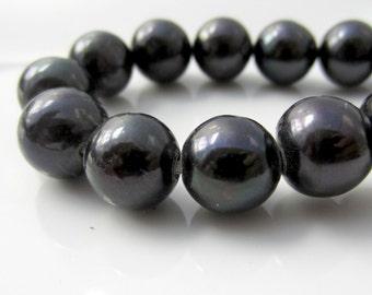 Black Pearls, Large Hole Pearls, Real Pearls, Round Pearls, Potato Pearls, Large Pearls, 2mm Hole Pearl, Genuine, 9mm-10.5mm, Cord Pearls
