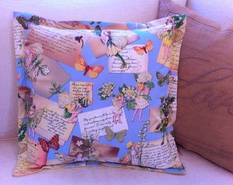"Pillow Cover Flowers Fairies Butterflies Ephemera Vintage Distressed (for 16"" insert; not included)"