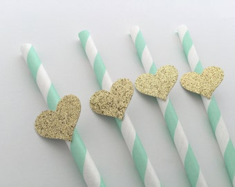 12 MINT and Gold Paper Straws.  Gold Glitter Heart. Party Decorations. Dessert Table Decor. Baby Shower, Bridal Shower, Wedding or Birthday