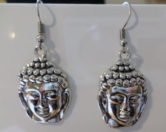 Buddha earrings antique silver
