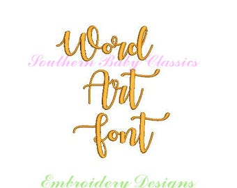 1 Inch Word Art Cursive Font Design File for Embroidery Machine Instant Download