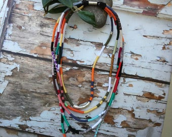 Colorful layered necklace, Unique rope jewelry, Fiber statement necklace, Statement rope necklace,rope necklace,long rope layered necklace