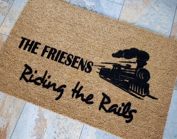 Train Lovers Doormat / Personalized Doormat / Travelers Doormat / Custom Doormat / Riding the Rails / Welcome Mat / Family Gift / Trains