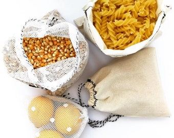Set of 4 produce bags for zero waste/ bulk shopping / plastic bag replacement / drawstring / recycled, sustainable eco friendly / reusable