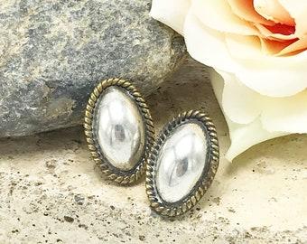 Vintage Earrings Silver Concho Earrings, Southwest, Native American, Mexican Silver Earrings, Silver Studs, Vintage Native American Style