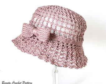 Crochet Summer Hat Patterns, Crochet Sun Hat Pattern, Summer Cloche Hat, Brim Hat, Crochet Hat Women, Crochet Hat Pattern, Summer Hat