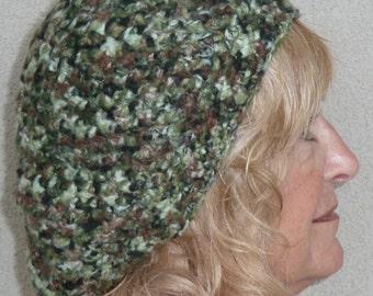 Camouflage winter hat that's slouchy, original winter crochet hat, Bohemian accessories, unique women's head fashions, slouchy green hat