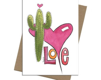Southwest Saguaro Love   Valentine Card