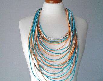 Rope necklace cord necklace long necklace statement boho long necklace long statement necklace extra long necklace silk necklace multi color