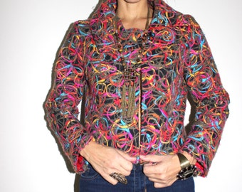 Vintage Textured Cropped Jacket / Wool Cropped Jacket / 80's Cropped Jacket / Small