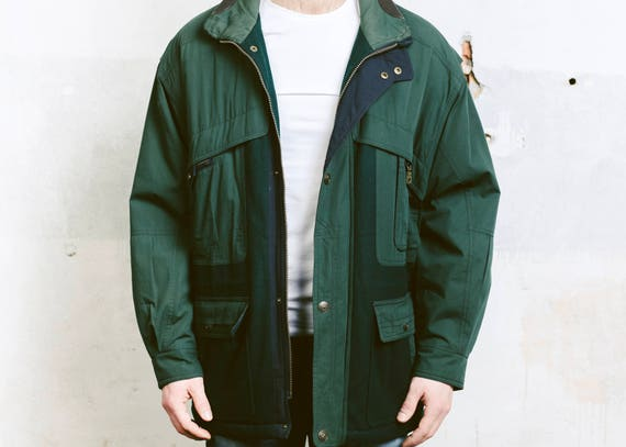 Oversized 90s Forest Large Coat Parka Vintage Hunting Coat Green L INSULATED Men's Green Fisherman Jacket size Outerwear twTnFq