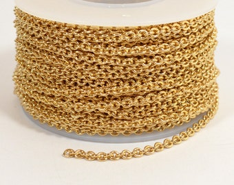 Oval Cable Chain - Gold Plated - 2.2mm x 2.8mm Links - CH156 - Choose Your Length