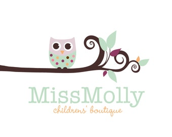 Custom Logo  Premade Logo for Photographers Crafty Boutiques and Bloggers Polka Dot Owl with Whimsical Tree Branch