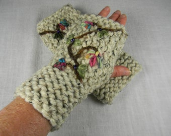 Hand Knit Hand Embroidered Wrist Warmers, Embroidered Fingerless Gloves, Floral Fingerless Gloves, Texting Gloves, Gauntlets, Arm Warmers