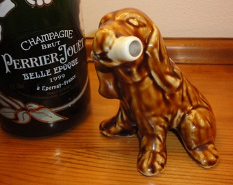 1960's Cazanove China Spaniel Dog Mini decanter/Novelty Miniature Figurine - Made in France