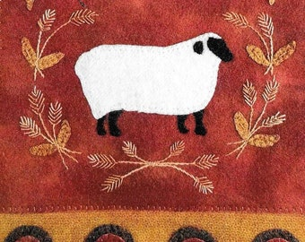 Wool Applique Pattern, Simply Sheep, Wool Wallhanging, Harvest Sheep, Thanksgiving, Primitive Decor, Wool Mat, Sew Cherished, PATTERN ONLY