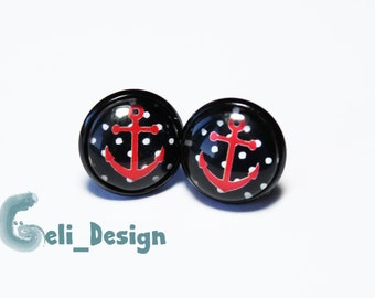 Earrings Cabochon Anchor Red Black