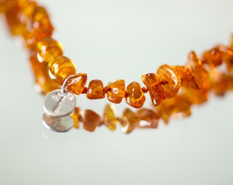 Baby teething necklace - personalized baby necklace - amber teething necklace - monogram jewelry - baltic amber necklace - golden