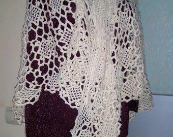Cream Shawl Boho Shawl Knitted Shawl Wool Knit Shawl Hippie Shawl Gypsy shawl vintage Shawl wrap crochet Crochet shawl