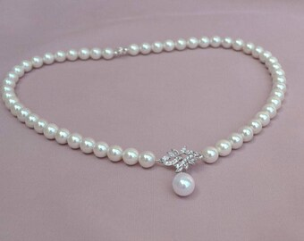 Pearl bridal necklace, pearl strand necklace, pearl wedding necklace, bridal jewelry
