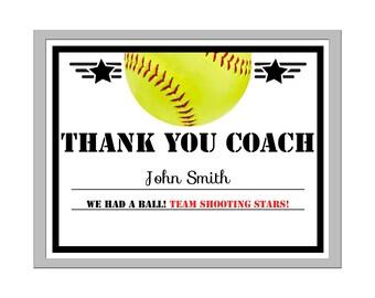 Editable PDF Sports Team Game Softball Thank You Coach Certificate Award Template