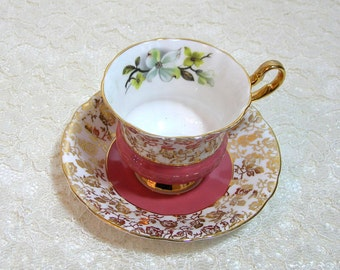 Pink And Gold Teacup And Saucer Windsor Bone China, English Bone China Teacup