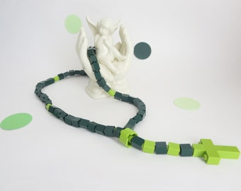 Catholic Rosary Made With Lego Bricks -  Dark Green & Lime green Rosary -  First Communion, Baptisim, Confirmation GIft