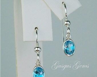 Memorial Day Sale Swiss Blue Topaz Dangle Earrings Sterling Silver 7x5mm 1.55ctw