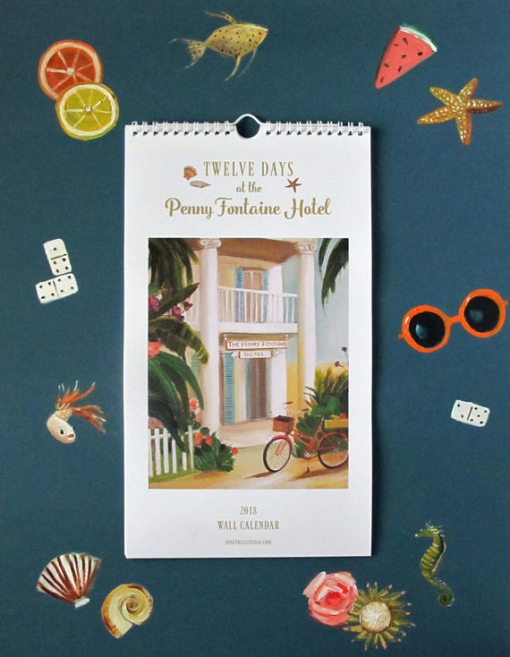 SALE! 2018 Wall Calendar. Twelve Days at the Penny Fontaine Hotel.