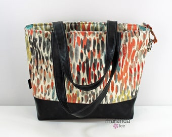 Lulu Large Tote Diaper Bag Rain Nectar and PU Gray Leather with Zipper Closure