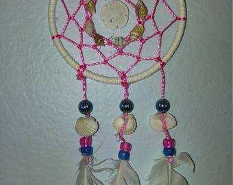 Pink/Blue Shell Dream Catcher