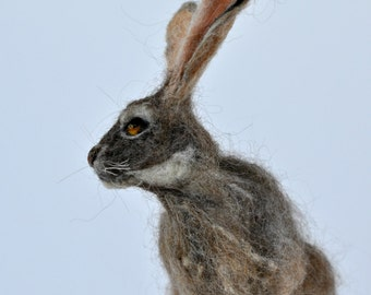 Needle felted  animal,  Felted rabbit, Needle felted bunny ,Needle felted rabbit, Wool Felt Animals. Jackrabbit. Made to order