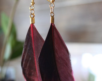 Pink and black feather earrings