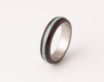 Titanium Ring turquoise mens ring with wenge wood ring wedding ring turquoise titanium band