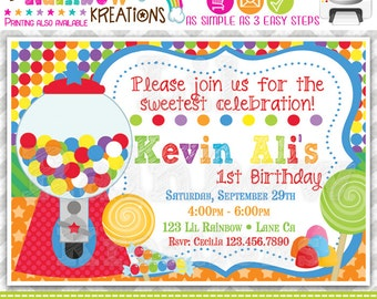 464: DIY - Cute Candy Shop 2 Party Invitation Or Thank You Card