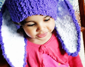 2T to 4T Bunny Ears, Purple Toddler Girl Hat, Bunny Hat, Toddler Hat Childrens Beanie, Purple Bunny Ears Kids Hat, Purple Hat Easter