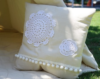 Vintage pillow cover with nature unbleached canvas