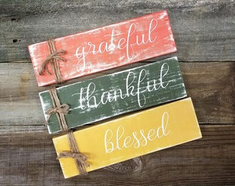 Grateful Thankful Blessed, Grateful Thankful Blessed Sign, Grateful Thankful Blessed Wood Sign, Fall Decor, Autumn Decor, Fall Signs