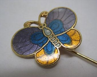Butterfly Purple Blue Gold Stick Pin Enamel Vintage