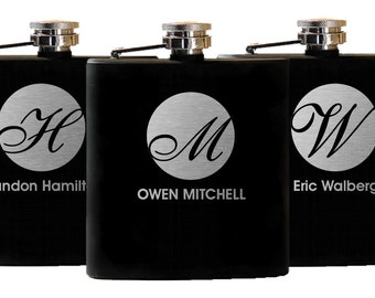 Groomsmen Gift, 11 Flasks, Personalized Wedding Gift, Groomsman Gift, Custom Flask, Best Man Gift, Black Flask Bachelor Party Engraved Flask
