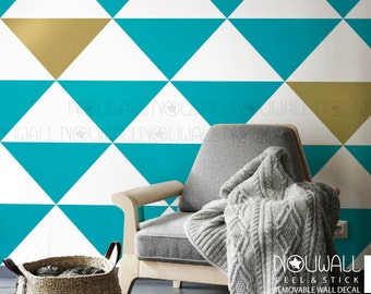Removable Triangles Wall Pattern Wallpaper, wall decal, wall sticker, wall decor