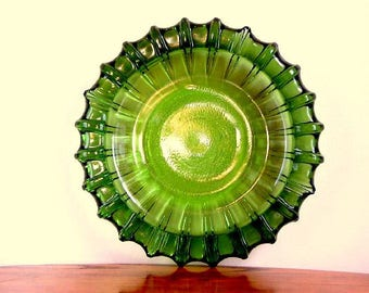 Vintage Green Glass Largest Ashtray Ever Art Form Sculptural Art Work