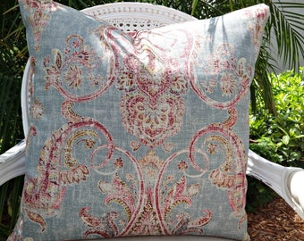 Linen Pillow Cover/ Kravet Fair Trade Breeze/ Custom Designer Linen Pillow Cover/ Toss Accent Pillow/ 20x20 Pillow Cover