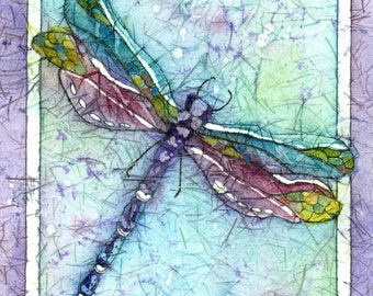dragonfly art, dragonfly painting, whimsical art, dragonfly watercolor, watercolor batik,