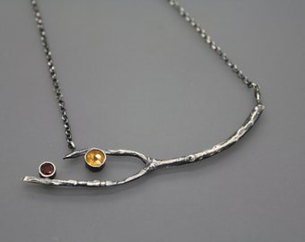 Mother's Day Gift, Gift For Mom, Branch Necklace, Branch Pendant, Tree Jewelry, Tree Necklace, Silver Branch, Zircon, Nature Jewelry