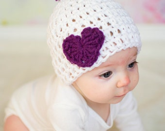Crochet Baby Hat, Valentines Day Hat, Baby Heart Hat, Purple and White, Valentines Baby, Infant Girl Beanie, Coming Home Outfit, Baby Shower